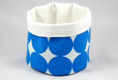 small fabric bucket with blue polka dots