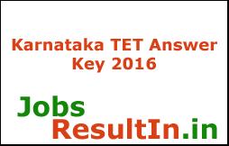 Karnataka TET Answer Key 2016