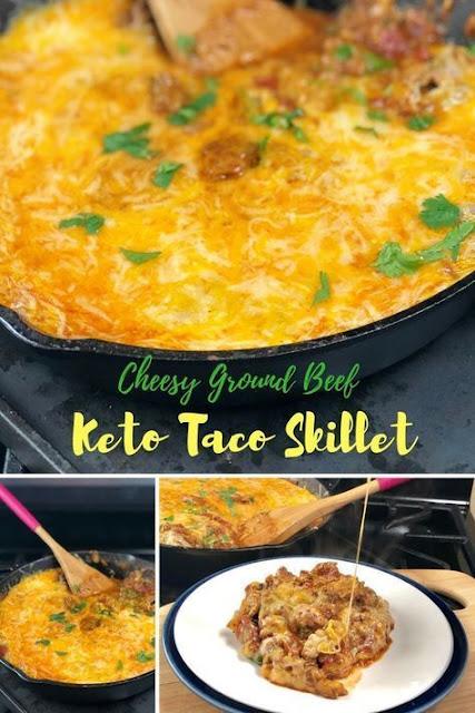 Cheesy Ground Beef Keto Taco Skillet
