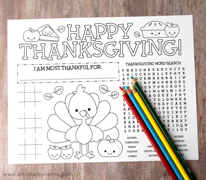 Free Printable Thanksgiving Activity Page at artsyfartsymama.com