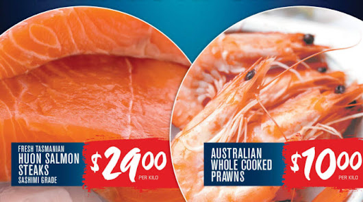 Fresh Tasmanian Huon Salmon Steaks $29/kg, Australian Whole Cooked Prawns $10/kg