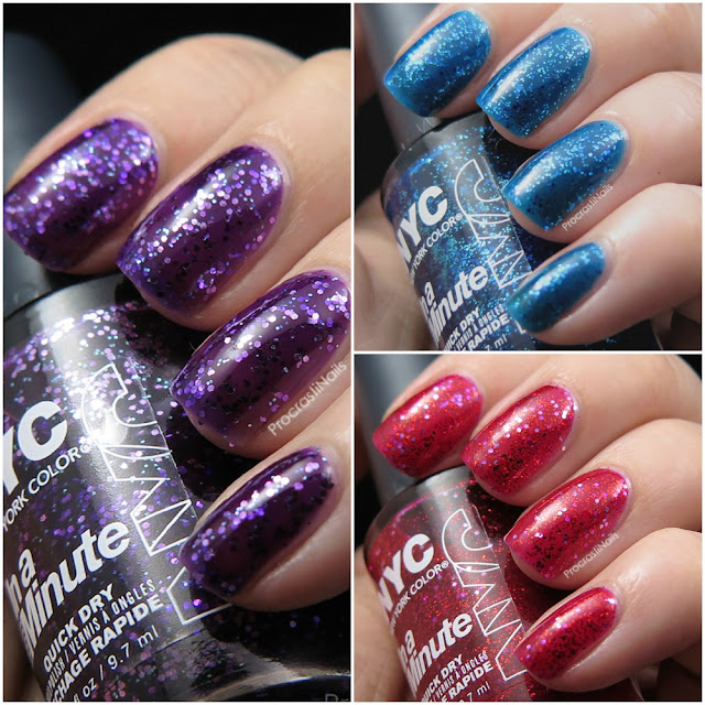 Swatch and review cover image of some New York Color glitter jelly nail polishes