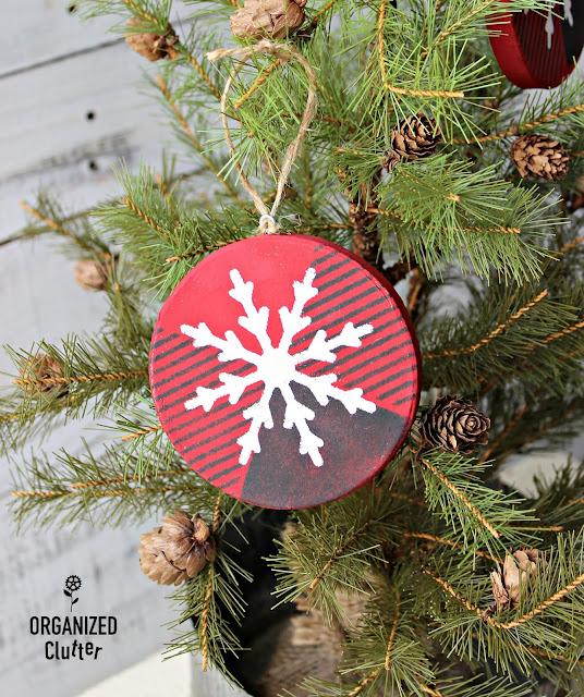 DIY Paper Hobby Lobby Round Buffalo Check Ornaments #oldsignstencils #stencil #buffalocheck #snowflake