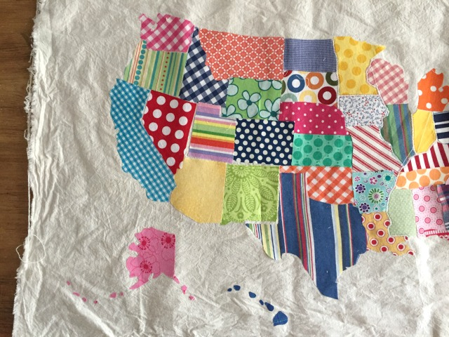 scrap fabric usa map wall hanging