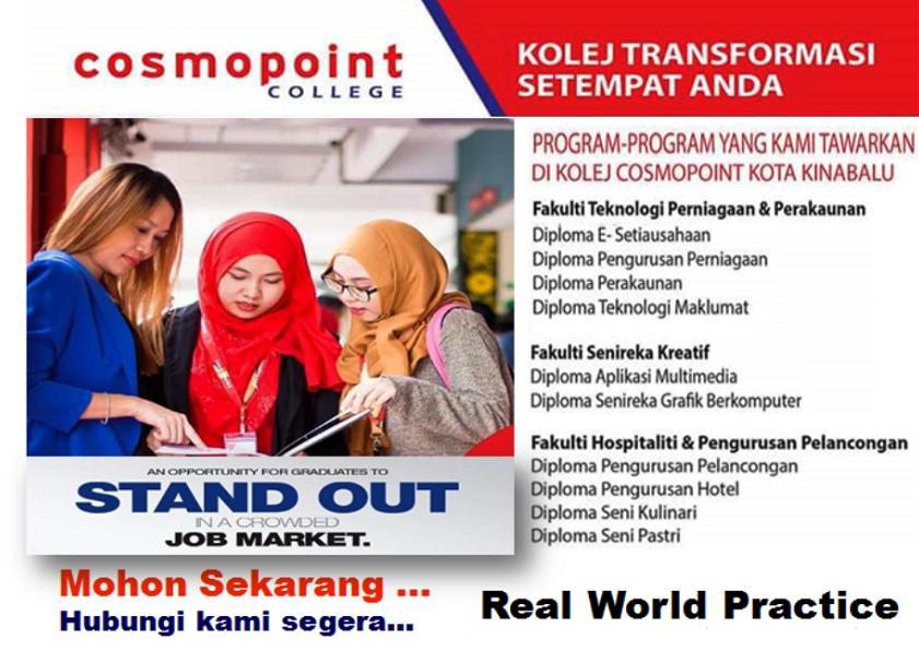 Pendaftaran pelajar peringkat diploma di Kolej Cosmopoint Sabah