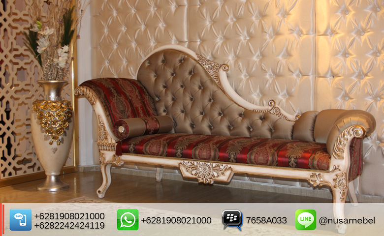 Chaise Lounge Sofa White Gold Finish Abdillah