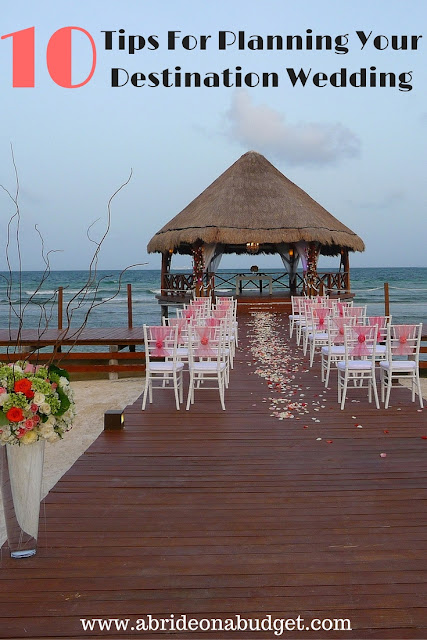 Planning a destination wedding is different than planning a wedding at home. Get some tips for planning your destination wedding on www.abrideonabudget.com.
