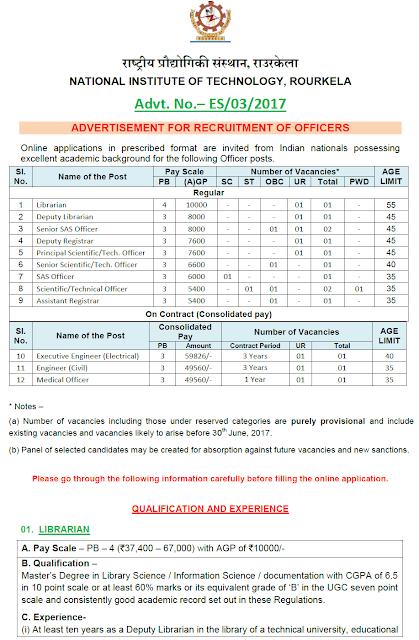 NIT Rourkela Officers Recruitment 2017