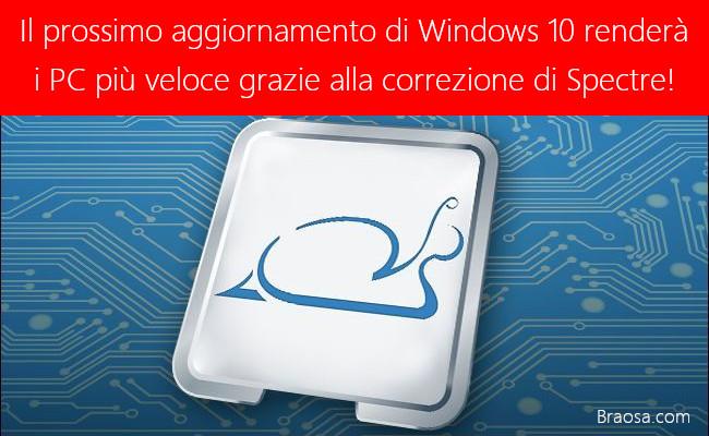 Il nuovo aggiornamento Windows 10 per velocizzare il PC da Spectre