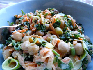 Chickpeas, carrot and watercress salad