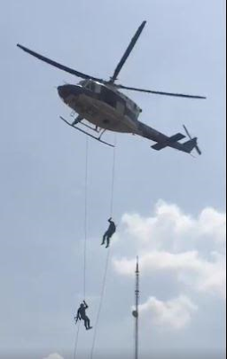 Nigerian police display operational capability from flying Helicopter