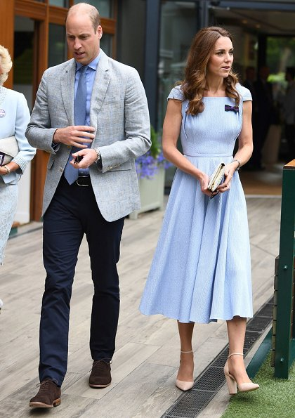 Kate Middleton wore Emilia Wickstead Jordin Dress, In2Design pearl earrings and Aldo Nicholes heel shoes