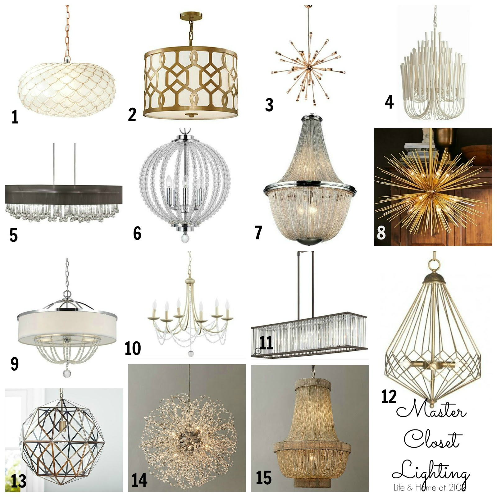 1 Capiz Scalloped Chandelier 2 Asti Pendant 3 24 Light 4 Tilda 5 Wood Tamara 8 Drum 6 Cal Lighting