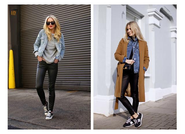 Кожаные брюки с джинсовкой, футболкой и пальто