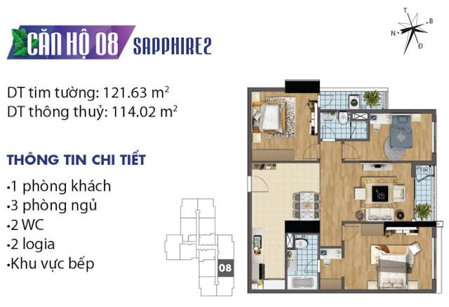 Thiết kế căn hộ số 8 tòa Sapphire 2