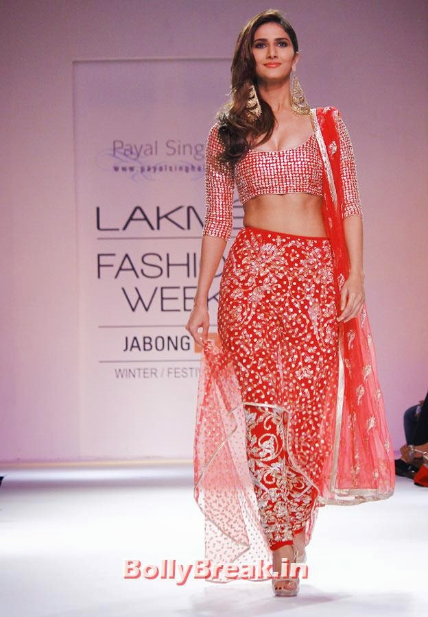 Vaani Kapoor in a Payal Singhal creation., Vaani Kapoor Lakme Fashion Week 2014 Pics in Bikini Bra Choli