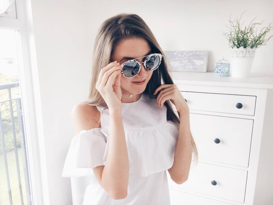 New In Spring 2017 - Primark Haul and Try On White Cold Shoulder Blouse Marble Sunglasses