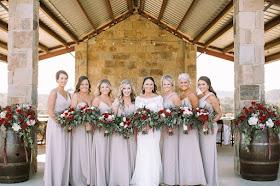 burgundy, blush, and cream wedding bouquets