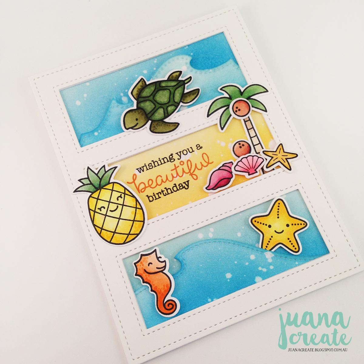 Juana Ambida: Lawn Fawn Beach Themed Birthday Cards