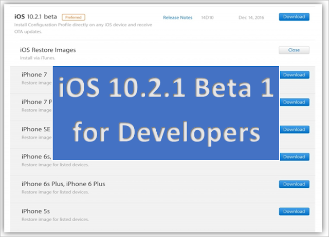 iOS 10.2.1 Beta 1 is available for download to registered developer's via OTA over-the-air on iPhone 7- 7 Plus and other compatible devices