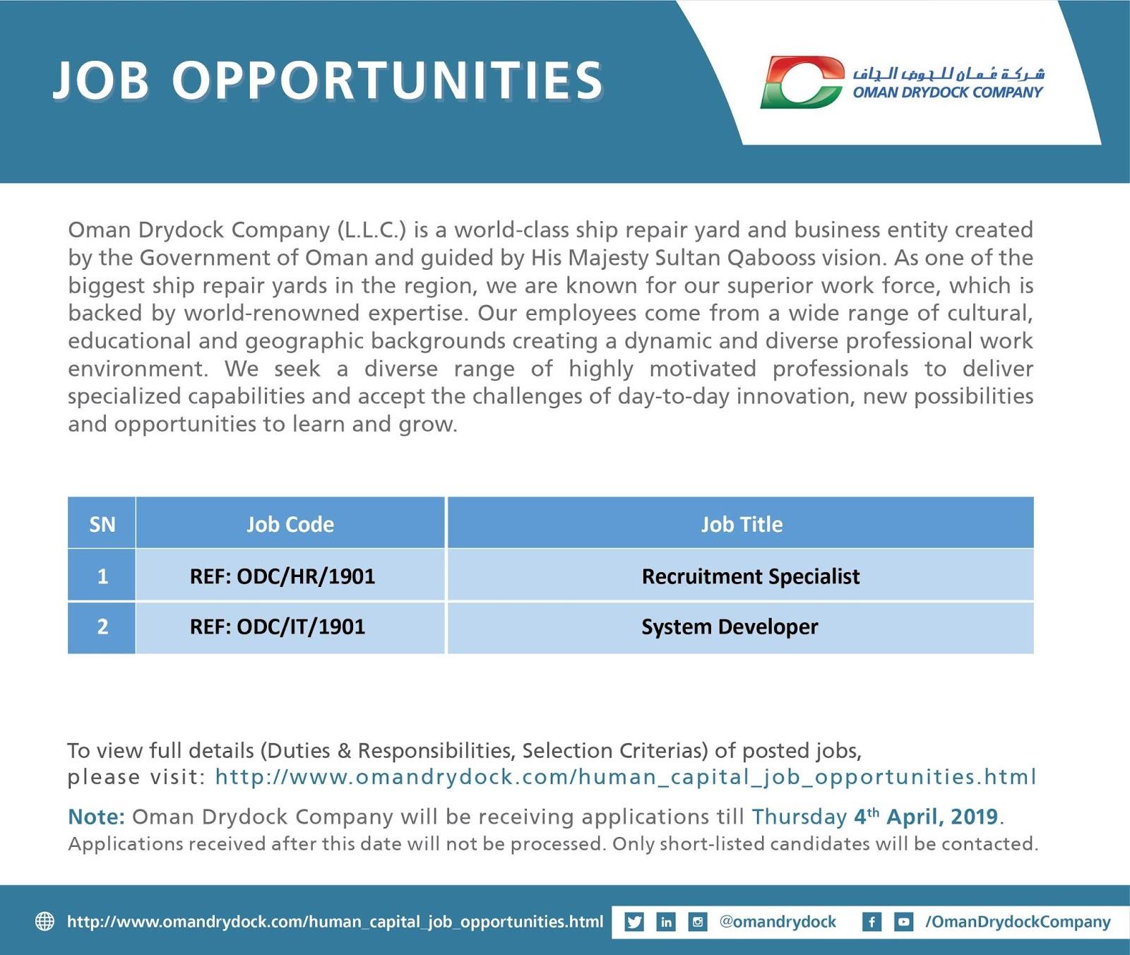 Job Alert - Job Opportunities at Oman DryDock - Duqm 1