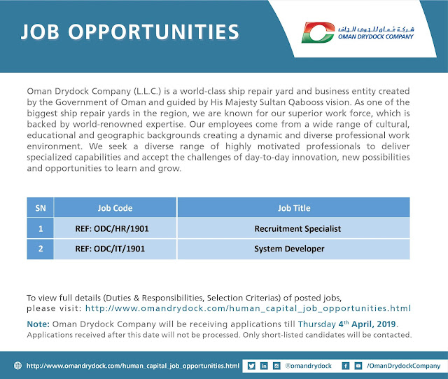 Jobs Opportunities at Oman DryDock