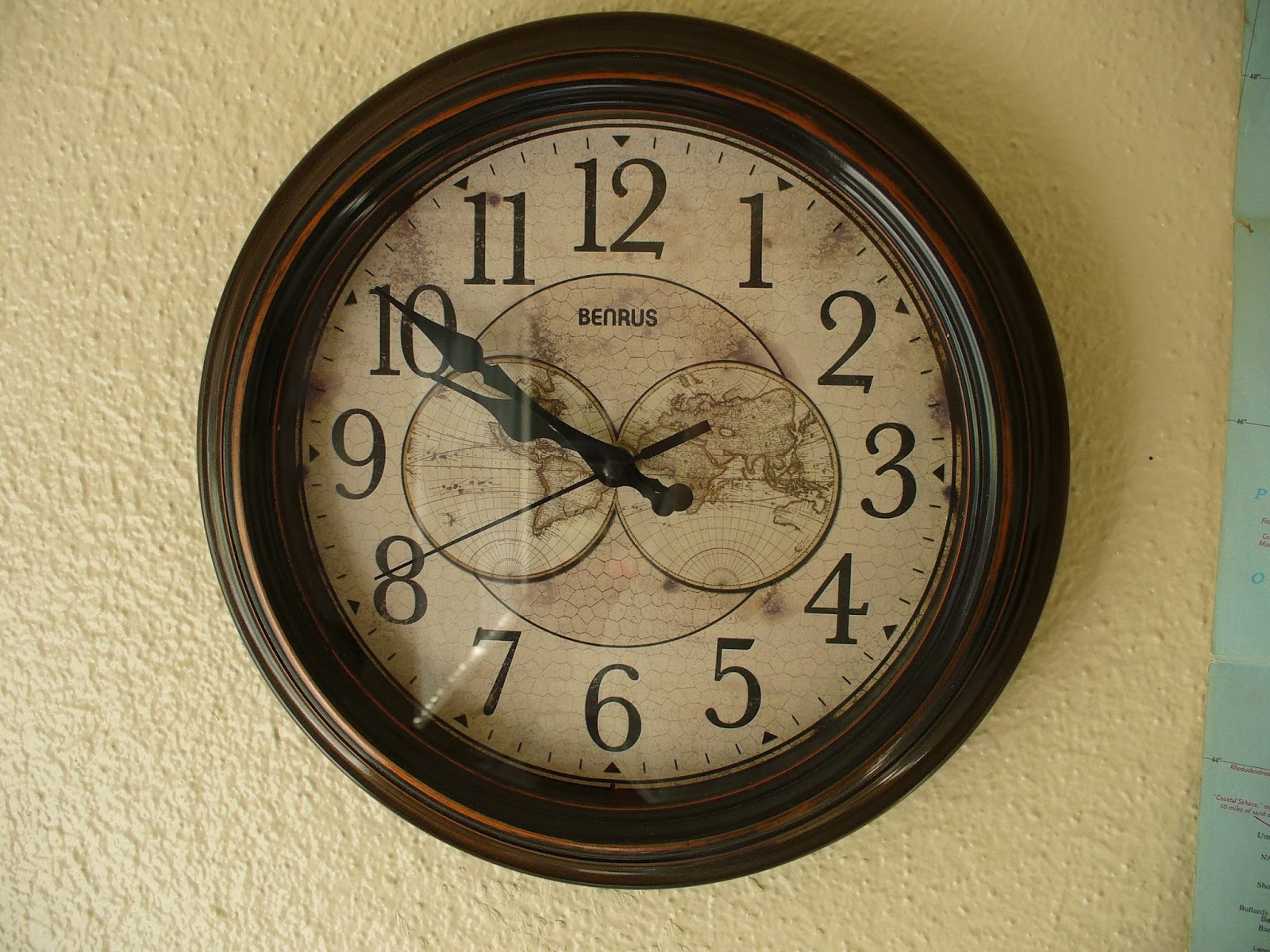 Wall Clock With World Map