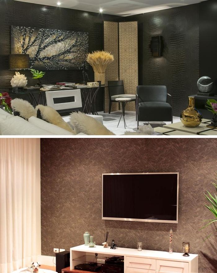 Inspirações: Sala decorada com papel de parede