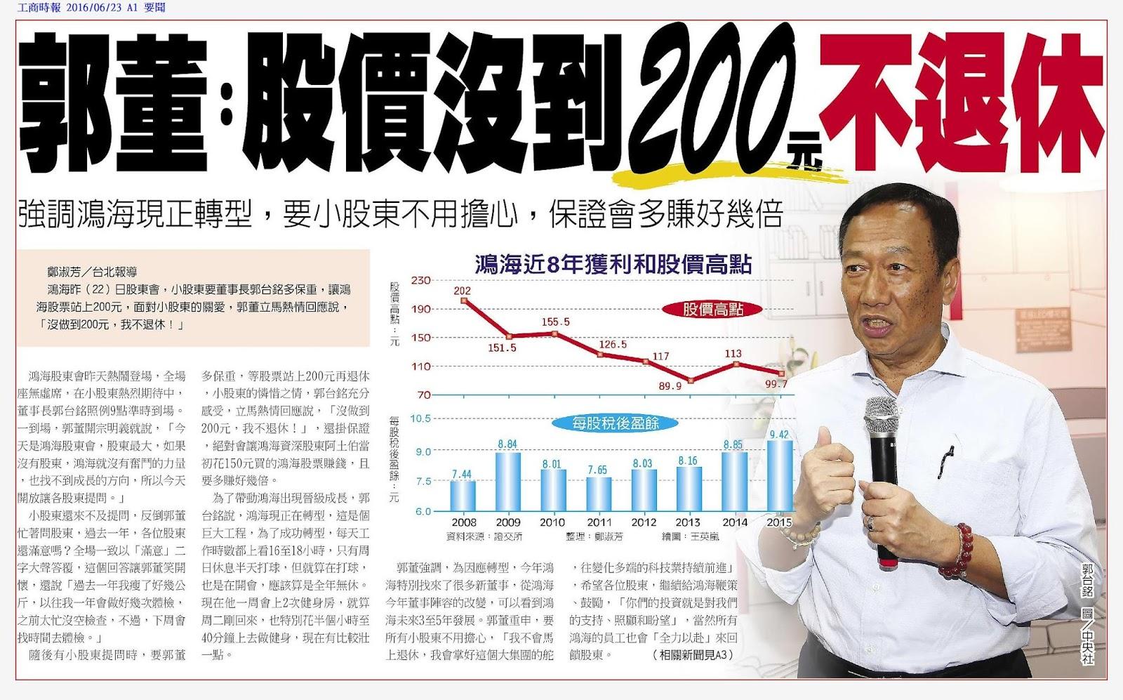 輕易豐盛學苑: 郭董:股價沒到 200元不退休