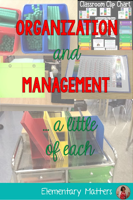 Organization and Management, a little of each. This post gives 2 ideas for classroom management and 3 tips for classroom organization