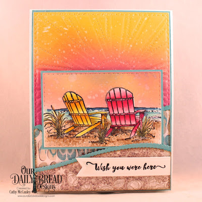 Our Daily Bread Designs Stamp Set: Come To Me, Paper Collection: By the Shore, Custom Dies: Sunburst Background, Leafy Edged Borders, Double Stitched Rectangles, Pennant Flags