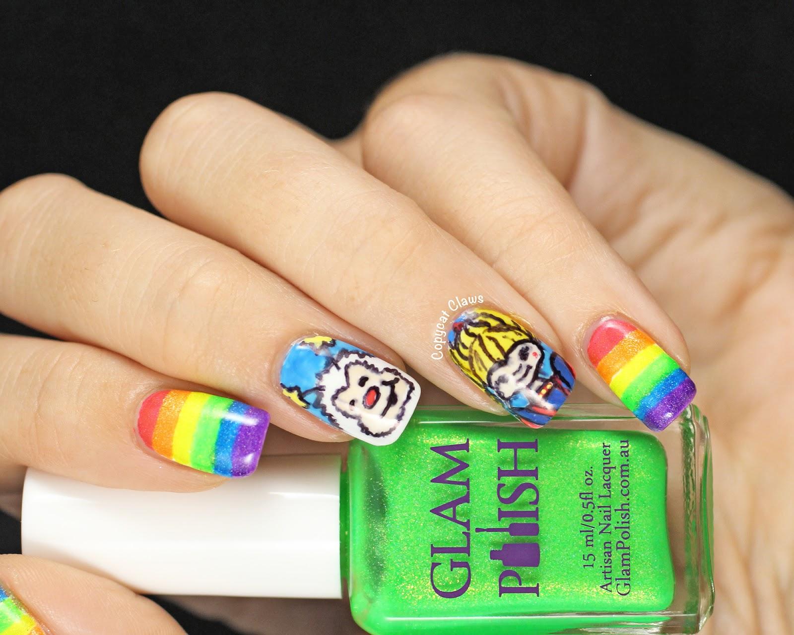 Copycat Claws 31dc2014 Day 9 Rainbow Brite Nail Art