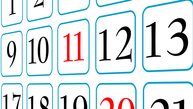 Closeup picture of a monthly calendar, focused on a single week