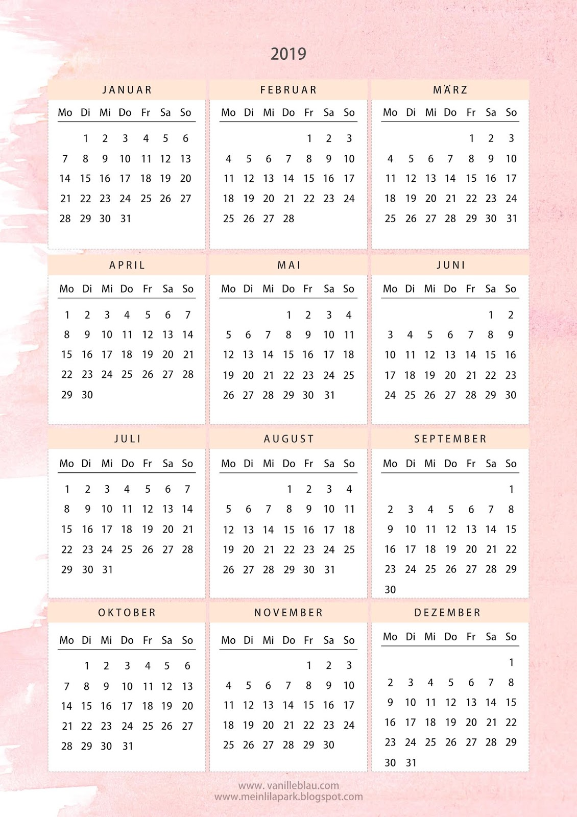 my first free printable 2019 calendar pink creme. Black Bedroom Furniture Sets. Home Design Ideas