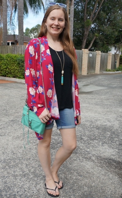 Cotton On Leah kimono in Juddy floral cerise black tee bermuda denim shorts | awayfromblue