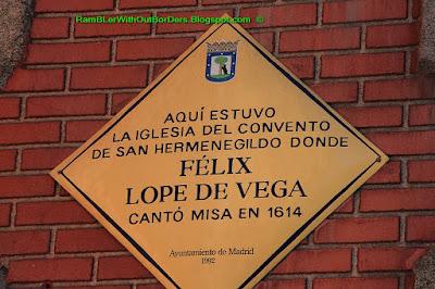 Info sign, Iglesia de las Calatravas, Calle de Alcala, Madrid, Spain