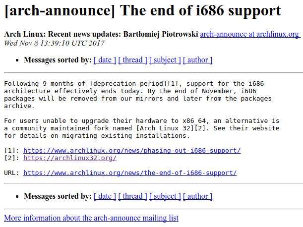 Arch Linux termina il supporto i686 (x86 32-bit), ma potete