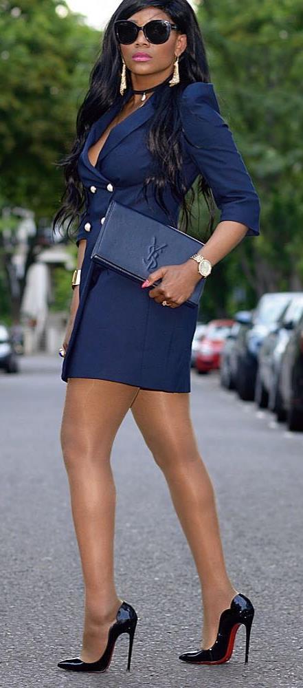 elegant office style / dress + bag + heels