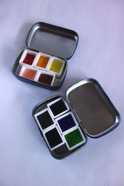 Watercolor half pans, pans for watercolor paint, plastic cubes for paint, watercolor paint, gouache paint,