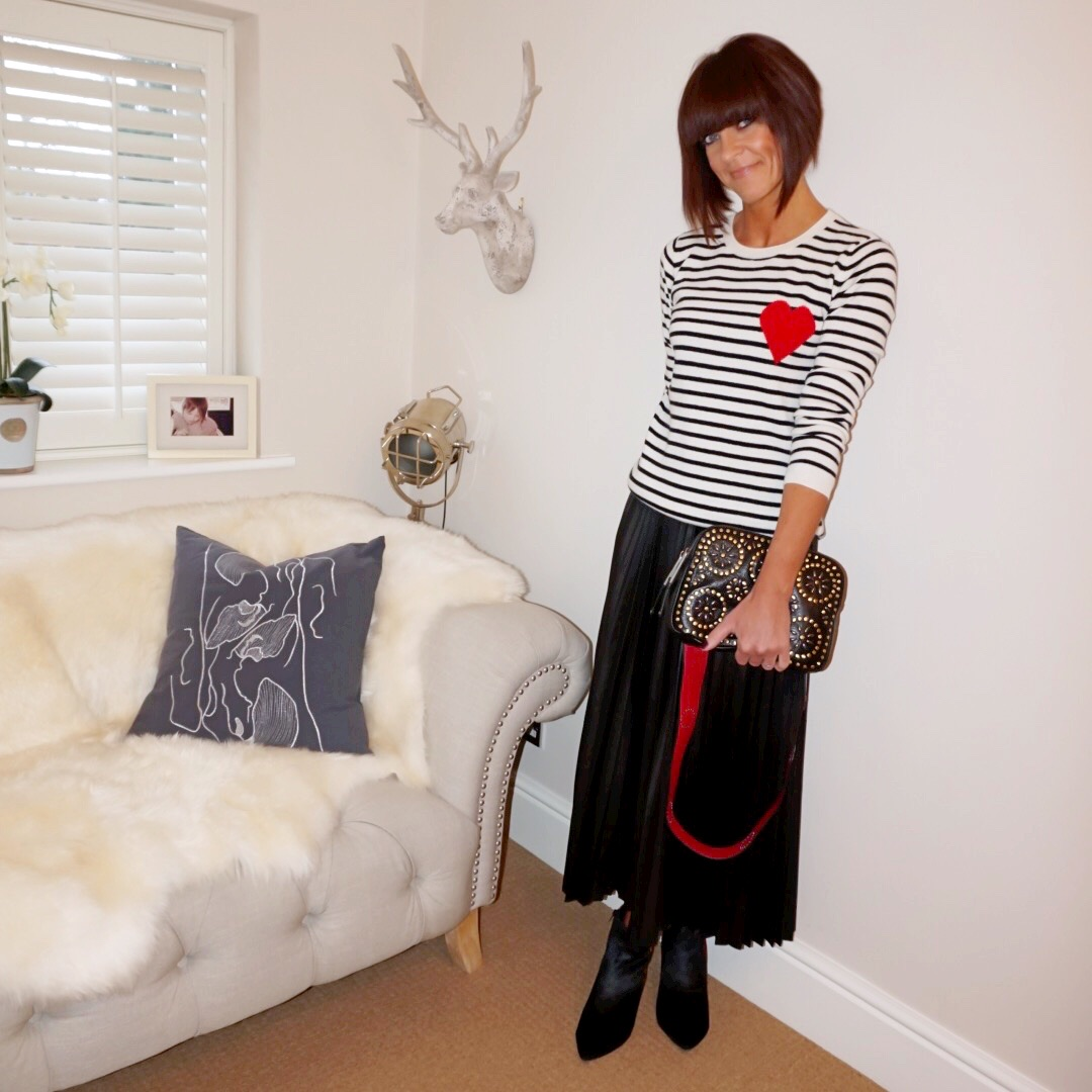 My midlife fashion, chinti and parker stripe heart cashmere jumper, village england pemberton studded cross body bag, marks and spencer kitten heel ankle boots, marks and spencer pleated maxi skirt