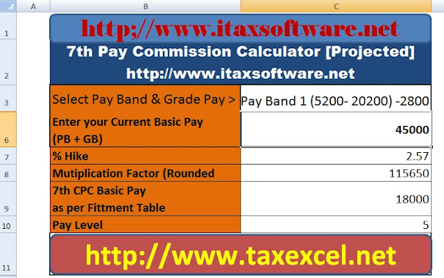 Expected 7th Central Pay Commission Pay Calculator in Excel ~ Taxjob in