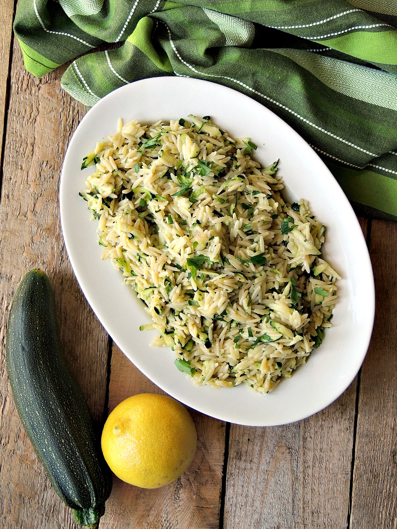 Lemony Orzo with Zucchini and Parmesan is a quick and easy side dish that only uses 5 ingredients. #pasta #zucchini #pastasalad #salad #sidedish #lemon #parmesan #recipe | bobbiskozykitchen.com