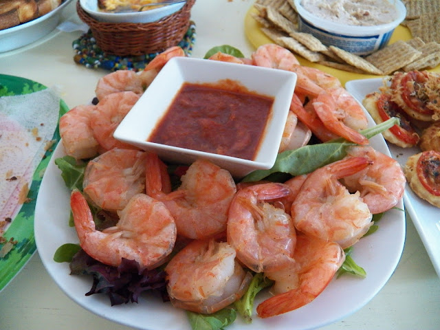 Shrimp with kicked up cocktail sauce