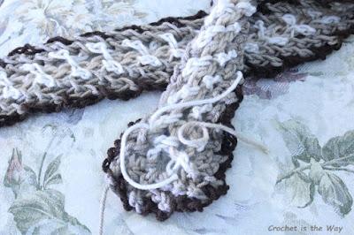 crochet, WIP, work in progress, scarf, yarn tails, chain stitch, woven