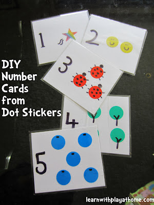 DIY Number Cards, Sticker Number Cards
