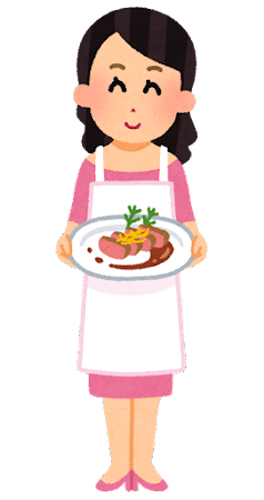 料理をだす女性