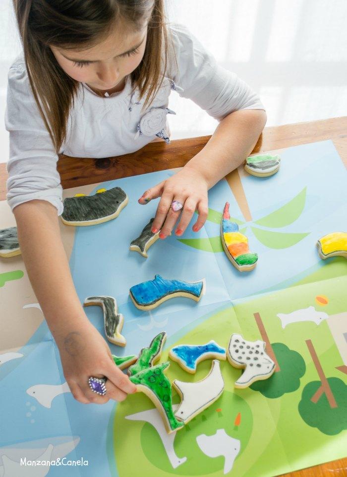 Manzana&Canela: Galletas puzzle para pintar con niños