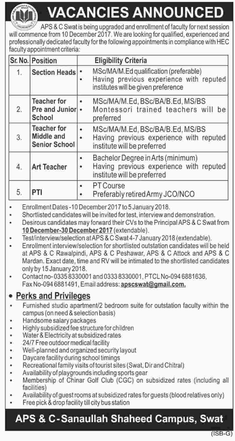 Jobs In Army Public School and College Swat Dec 2017