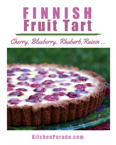 Finnish Fruit Tart (RahkaPiirakka) ♥ KitchenParade.com, here with sour cherries, also try rhubarb, raisins, blueberries. One Bowl. Press-in Crust. Super Easy.