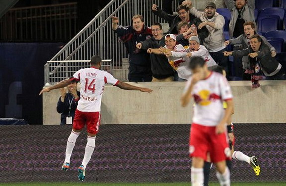 Red Bulls striker Thierry Henry celebrates after scoring the winner against Montreal